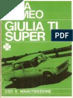 Libretto Uso e Manutenzione Alfa Romeo Giulia TI Super Ristampa Anastatica