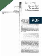 Lane-Mercier, Gillian, Pour Une Analyse Du Dialogue Romanesque