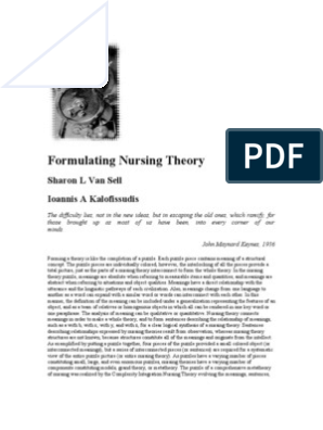 Formulating Nursing Theory | Theory | Concept