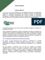 Manual de Certificação de Produtos Orgânicos