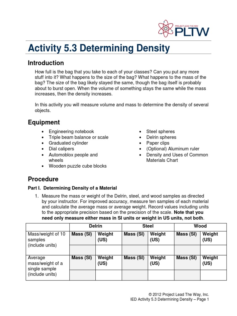 53 Determining Density Density – Triple Beam Balance Worksheet