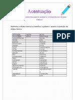 Classificação das palavras quanto à posição da sílaba tónica