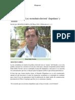06-05-2014 Regio.com - Dejaría fuera Ley secundaria electoral 'chapulineo' y 'acelere'.