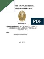 Medida de Energía, Potencia y Corrección Del Factor de Potencia en Circuitos 1ø