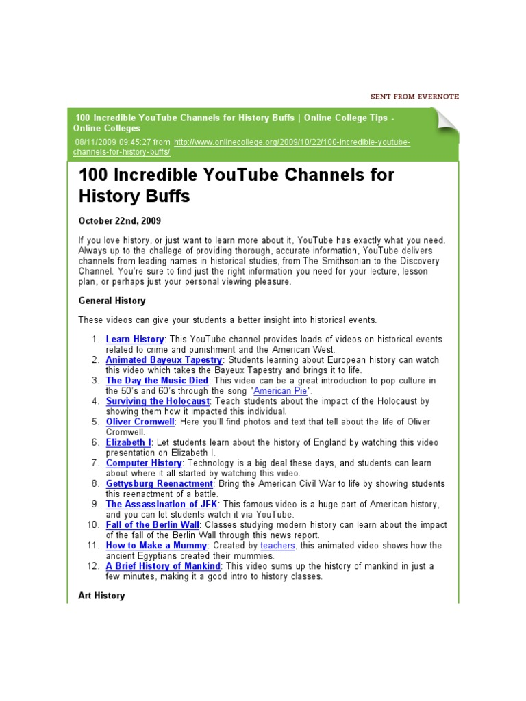 100 Incredible YouTube Channels for History Buffs | Online College