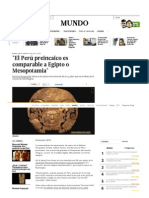 El Perú Preincaico Es Comparable a Egipto o Mesopotamia