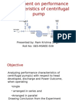 Performance characteristic of centrifugal pump