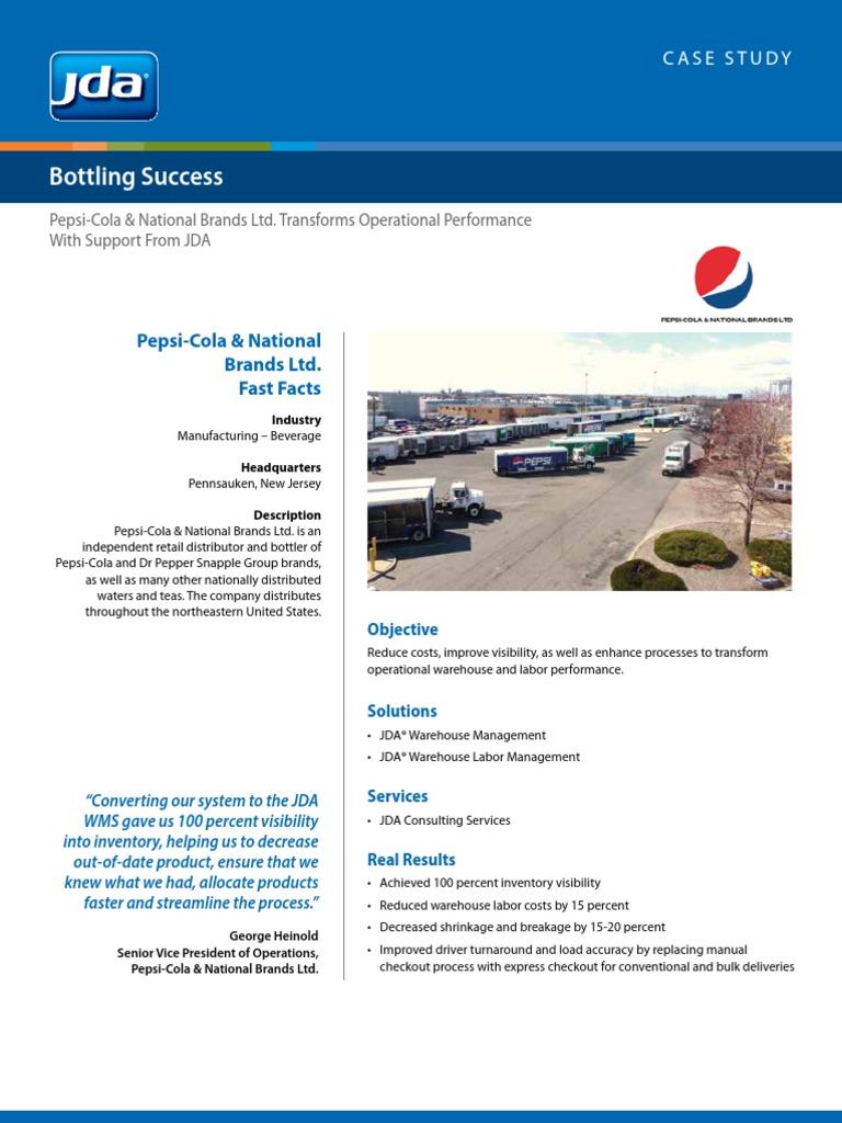 Pepsi National Brands CaseStudy | Pepsi | Warehouse