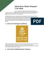 5 Tanda Kesalahan Besar Dalam Mengatur Keuangan Di Usia Muda