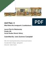EDEL453 Spring2014 JanisGommeCampbell Unit Plan Wednesday