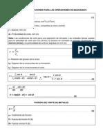 Formulas y Ecuaciones Para Las Operaciones de Maquinado