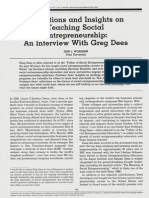 Reflections and Insights on Teaching Social Entrepreneurship - An Interview With Greg Dees