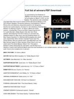 CurrentaffairsOscar Awards 2014 Full List of Winners PDF Download