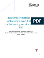 Recommendations for achieving a world-class radiotherapy service in the UK