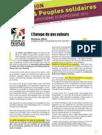 L'Europe de nos valeurs, par François Alfonsi Président de Régions et Peuples Solidaires et Vice-Président de l'Alliance Libre Européenne
