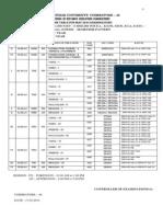 Bharathiyar University Time table 2014