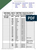 Tap & Drill Chart W_decimal Inch & Metric