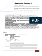 Questionnaire to the Application for Permanent Residence (Sponsorship Outside of Canada)[1]
