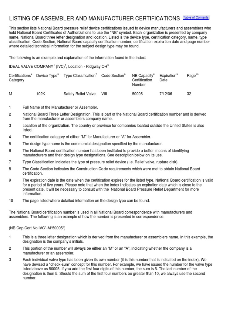 Listing of Assembler and Manufacturer Certifications   Assembly ...
