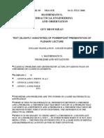 PME 30 Plenary Address by Brousseau