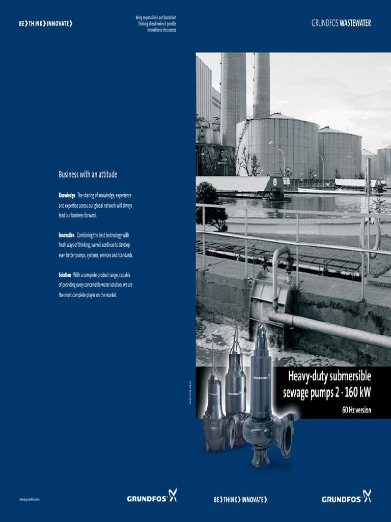 Brochure 60 Hz 2 160kw Sewage Treatment Pump Grundfos Pompa Celup Kp 150a