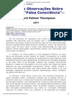 Algumas Observações Sobre Classe e Falsa Consciência