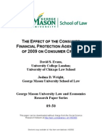 The Effect of the Consumer Financial Protection Agency Act of 2009 on Consumer Credit