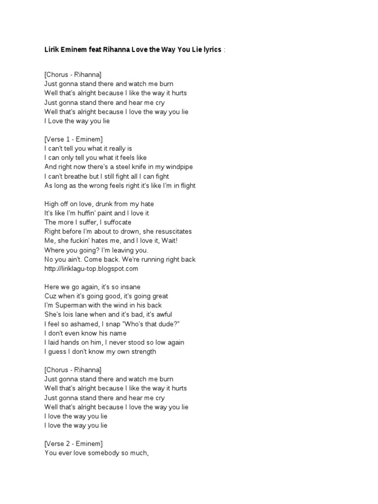 Lirik Eminem Feat Rihanna Love The Way You Lie Lyrics   Songs Written    Violence