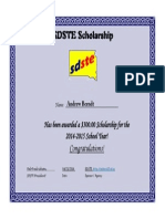 sdste scholarship award 2014-2015 andrew berndt