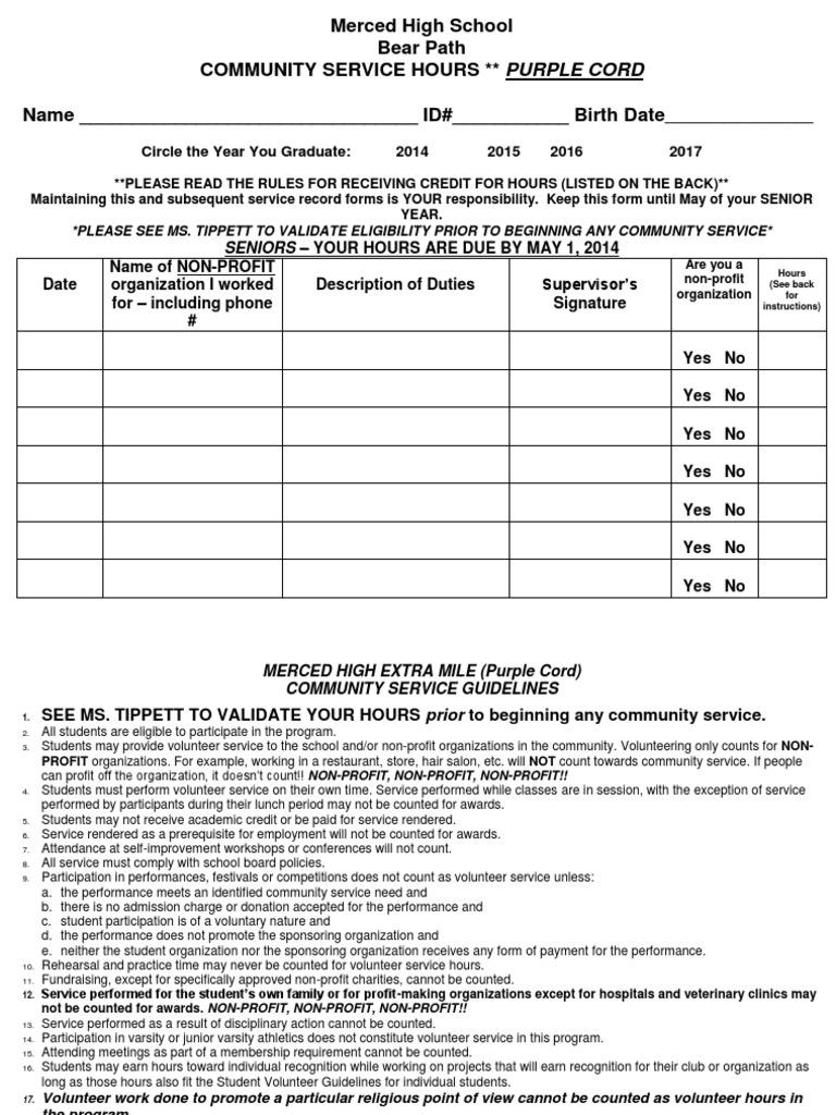 Community service hours form pdf volunteering nonprofit organization altavistaventures Images