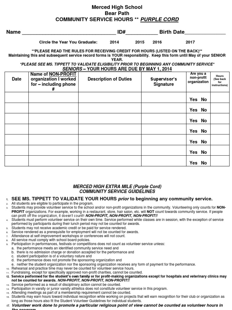 Community service hours form pdf volunteering nonprofit organization thecheapjerseys Images