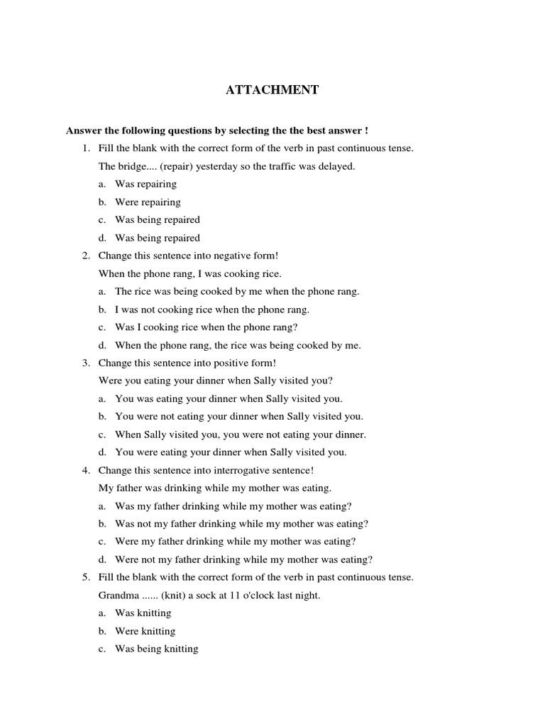 contoh soal past continuous tense essay dan jawabannya