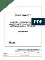 PRO-MP-006 Procedimiento Limpieza, Desinfección y Mantenimiento de Locales, Instalaciones y Equipos