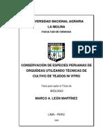 Conservacion de Especies Peruanas de Orquideas Utilizando Tecnicas de Cultivo de Tejidos Vegetales