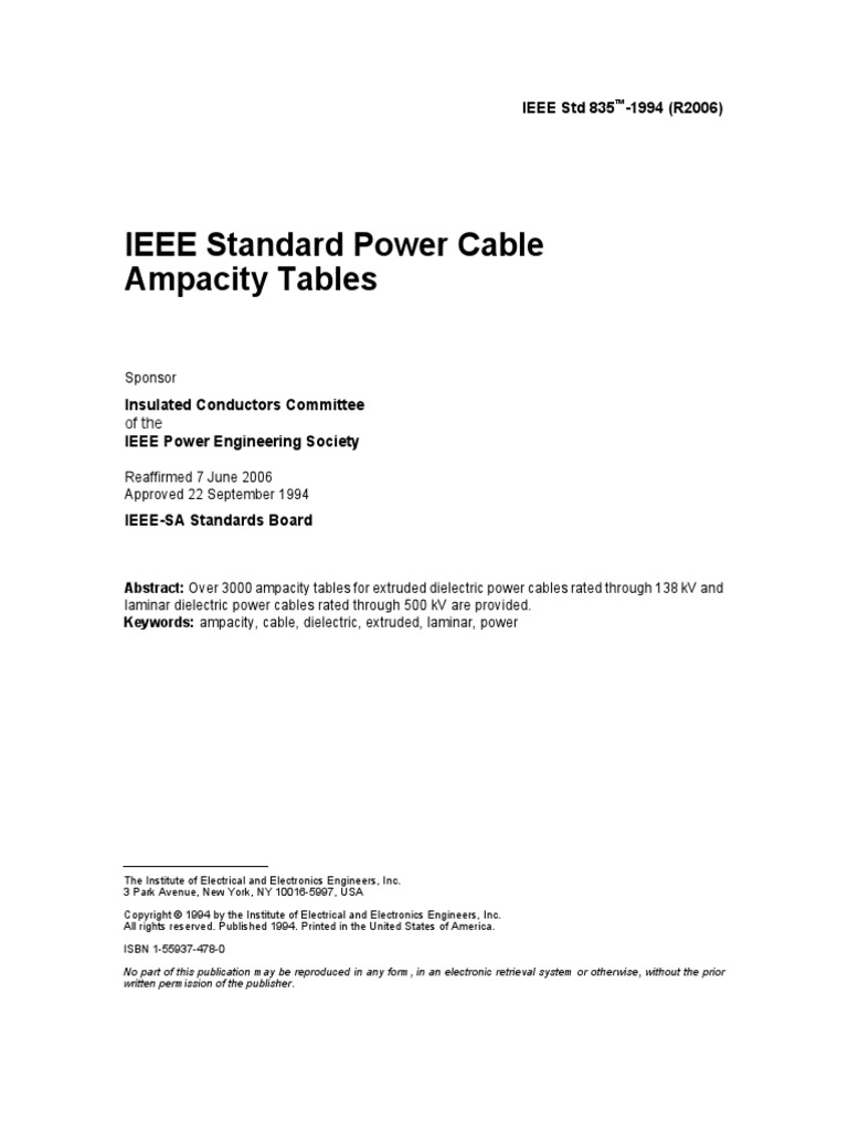 Previews ieee 835 1994 pre cable institute of electrical and previews ieee 835 1994 pre cable institute of electrical and electronics engineers greentooth Gallery