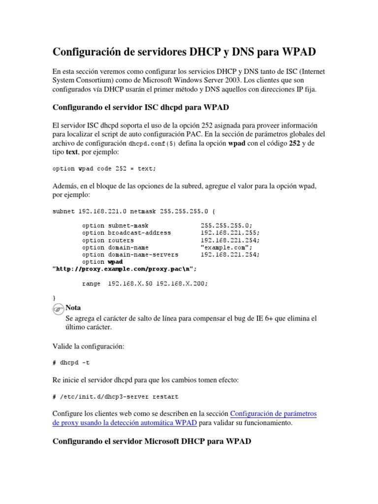 Configuración de servidores DHCP y DNS para WPAD pdf