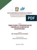 Similitudes y Diferencias de 3 Modelos Clinicos de Acupuntura