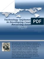 Educational Technology Implementation in Developing Countries Recurring Issues, Clayton R. Wright