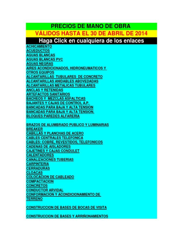 Precios de mano de obra abril 2014 - Precio vallas de obra ...