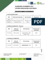 Calendario Académico 2014 - Tecnicaturas a Distancia