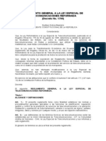 Reglamento Ley Especial Telecomunicaciones