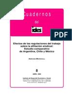 Marshall, Adriana - Efectos de las regulaciones del trabajo sobre la afiliación sindical