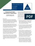 Designing the Best Maintenance Organization