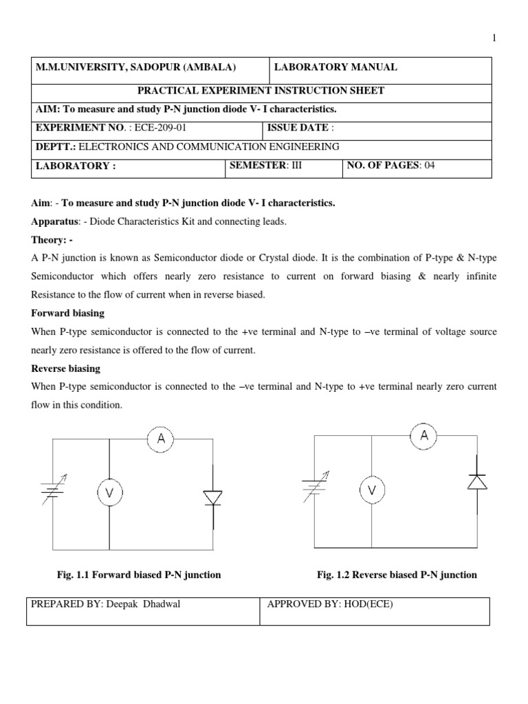 semiconductor devices and circuit lab manual rectifier p n junction rh scribd com