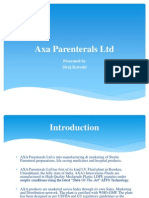 PPT on Axa Parenterals Ltd