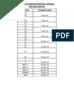 Baance Floor Integration Schedule for Final Sign Off