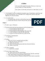 Vi Editor Short Commands