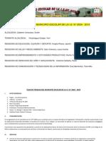 PLAN DE TRABAJO DEL MUNICIPIO ESCOLAR DE LA I.E.N° 2024 - 2014