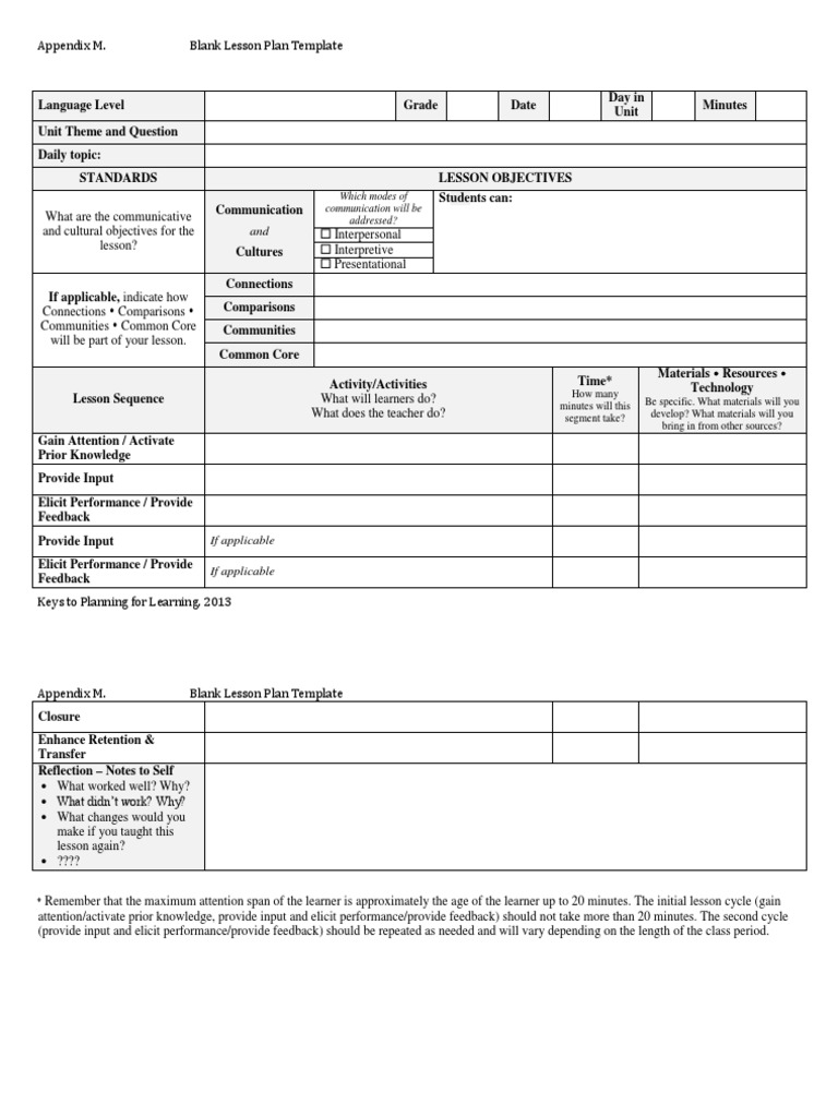 Blank Lesson Plan Template Keys For Language Learning - Blank lesson plan template