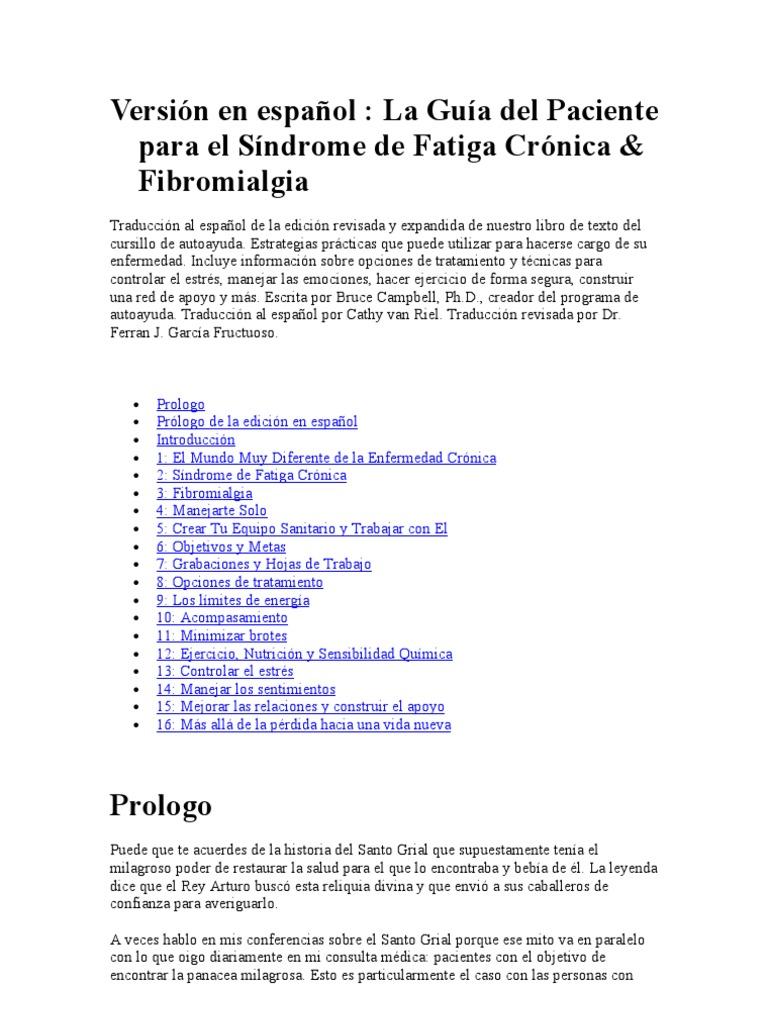 Versión en español La Guía del Paciente para el Síndrome de Fatiga ...